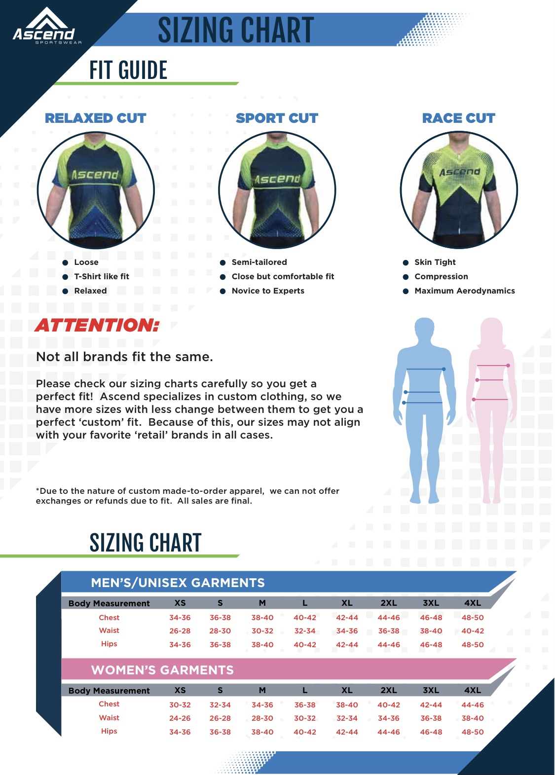 2021 jersey sizing chart